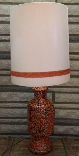 Vintage Large Orange Drip Glaze Ceramic Table Lamp Mid Century Modern Retro 60s Ebay Ceramic Table Lamps Large Lamp Shade Ceramic Table