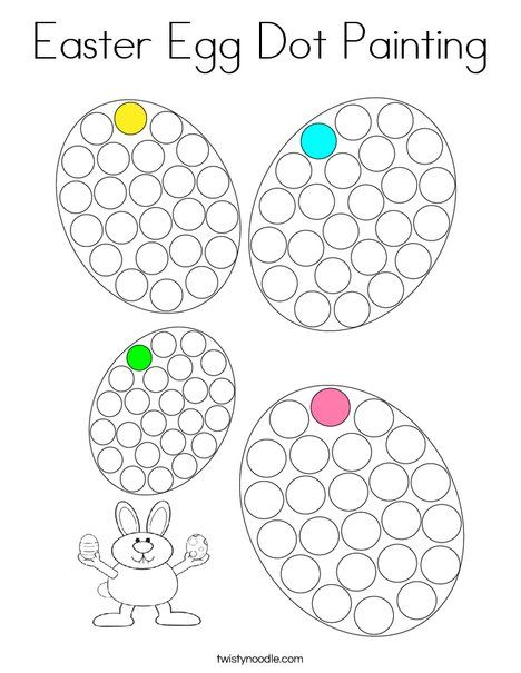 Easter Egg Dot Painting Coloring Page Twisty Noodle Dot Painting Easter Coloring Pages Easter Colouring