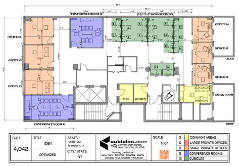Office Layout Plan With 3 Common Areas. #officelayout