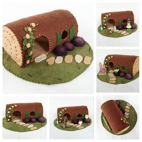 Hollow Log Fairy House Playscape Play Mat Felt Pretend Open-ended Make believe Small world fairytale cottage woodland an. Hollow Log Fairy House Playscape Play Mat Felt Pretend Open-ended Make believe Small world fairytale cottage woodland an. Cute Crafts, Felt Crafts, Diy Tapis, Diy For Kids, Crafts For Kids, Felt Play Mat, Play Mats, Felt House, Waldorf Crafts