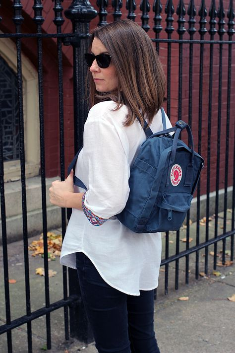 Fjallraven Kanken Mini Backpack in Uncle Blue. This lady uses it as a nappy bag, but I think it makes a good weekend carry all.