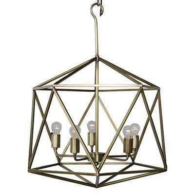 Noir 5 Light Geometric Chandelier Finish Antique Silver