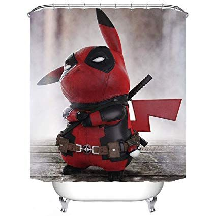 Pikachu Deadpool Shower Curtain Ai Fabric Shower Curtains