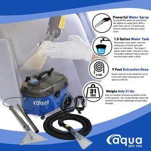 Portable Carpet Cleaning Spotter Extractor Machine For Auto Detailing Aqua Pro Vac In 2020 Small Area Carpet Carpet Spotter Car Cleaning Hacks