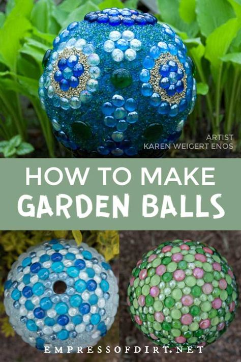 How to make decorative garden art balls. Find out how to create with glass gems, bowling balls, and more. # Gardening art How to Make Decorative Garden Art Balls (Expert Tips) Bowling Ball Garden, Bowling Ball Art, Garden Balls, Bowling Ball Crafts, Mosaic Bowling Ball, Diy Garden Projects, Garden Crafts, Diy Garden Decor, Garden Decorations