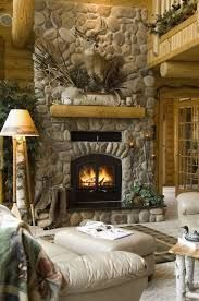 Image Result For River Rock Fireplace With A White Shabby Mantle Log Homes Home Fireplace Rustic House