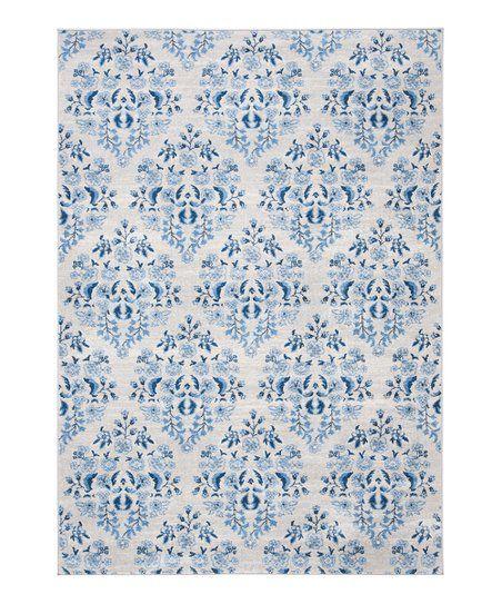 Martha Stewart Cream  Blue Floral Quatrefoil Indoor/Outdoor Rug | Zulily