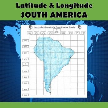 south america map with longitude and latitude lines Latitude And Longitude Practice Puzzle South America Social