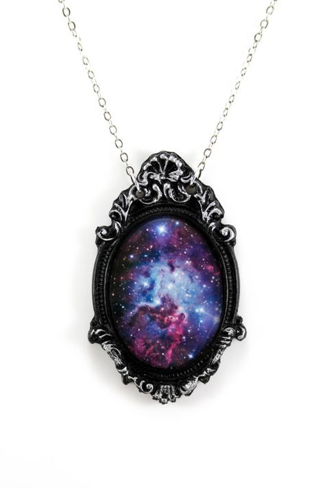 Purple Galaxy Cameo Necklace with Black Filigree Frame on Chain - Accessoires, Headresses & Kostüme - Jewelry