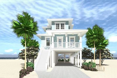 Plan 44161td Narrow Lot Elevated 4 Bed Coastal Living House Plan Coastal House Plans Beach House Floor Plans Small Beach Houses