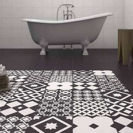 Vibe Black Patterned Wall And Floor Tiles 223 X 223mm In 2019