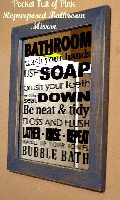 Repurposed Bathroom Mirror: cheap mirror from thrift store and stickers!