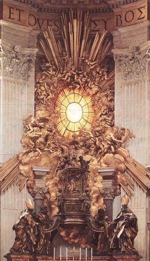 Le Trône de saint Pierre, Le Bernin, 1657-66, arbre, bronze, stuc blanc et d'or, Saint-Pierre de Rome.