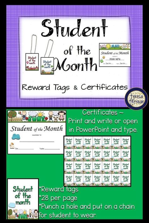 Student Of The Month Certificates And Reward Tags Resources For