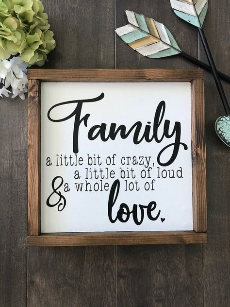 Wood Sign | Family Sign | Farmhouse Style | Rustic Home Decor | Wall Hanging | Gallery Wall | Family A Little Bit Of Crazy