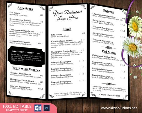 Food Menu Templates Printable Restaurant Menu by aiwsolutionsnet - microsoft word restaurant menu template