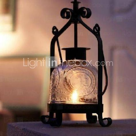 Black Accent Candle Lantern