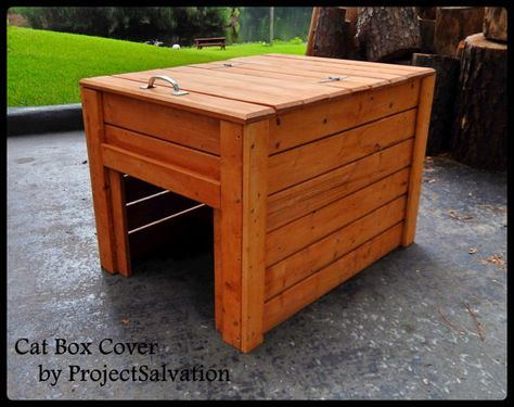 Cats like their privacy so we made this great litter box cover out of reclaimed pine. The cats can easily walk through the opening and do their