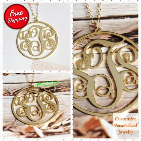 3 Initial Monogram Necklace,1.75 inch18k Gold Plated Personalize Necklace,Monogrammed Name Necklace Custom Jewelry Best Gift- %100 Handmade #GiftForHer #ChristmasGift #StatementNecklaces #LetterNecklace #MonogramSilver #SterlingSilver #CustomNecklace #MonogramNecklace #3InitialNecklace #NameplateNecklace
