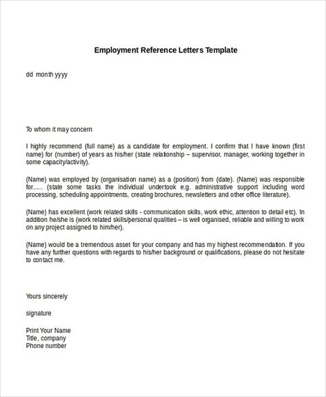 Sample Recommendation Letter For Job From Employer Within Sample