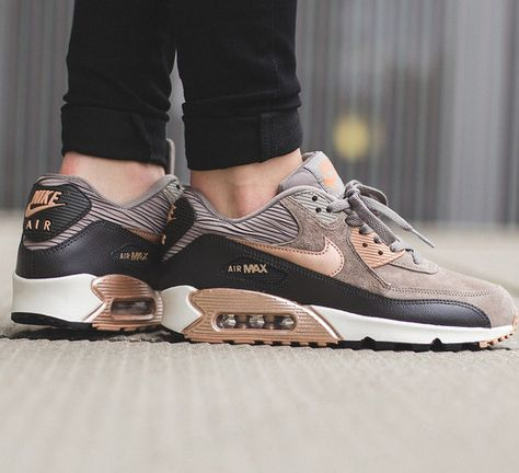 Nike Air Max 90 Leather Women Men Shoes Red Bronze Sail