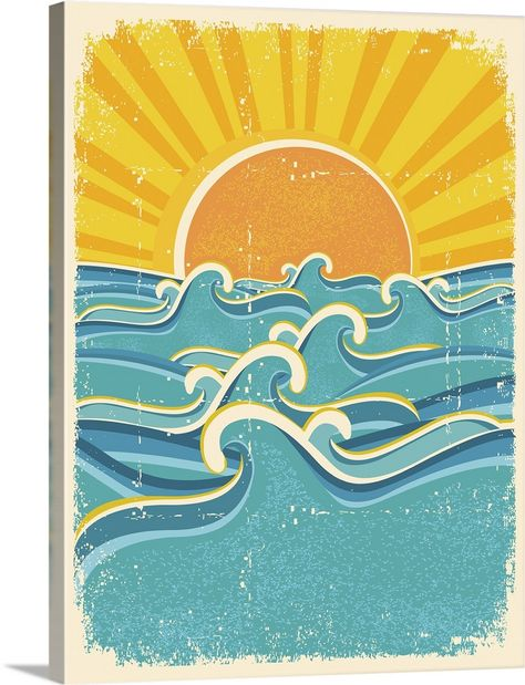Sunset and Ocean Waves Design Solid-Faced Canvas Print