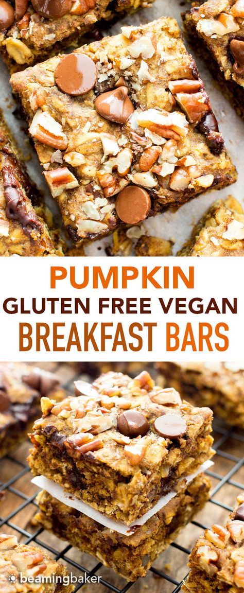 Gluten Free Pumpkin Chocolate Chip Oatmeal Breakfast Bars (V, GF): a healthy fal.Gluten Free Pumpkin Chocolate Chip Oatmeal Breakfast Bars (V, GF): a healthy fall recipe for oatmeal breakfast bars bursting with pumpkin spice flavor, walnuts Vegan Gluten Free Breakfast, Vegan Breakfast Recipes, Vegan Snacks, Healthy Gluten Free Snacks, Oatmeal Breakfast Bars Healthy, Healthy Vegan Desserts, Healthy Bars, Healthy Breakfasts, Health Desserts