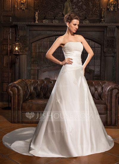 Forme Princesse Bustier en coeur Traîne mi-longue Satiné Robe de mariée avec Plissé Emperler (002022673)