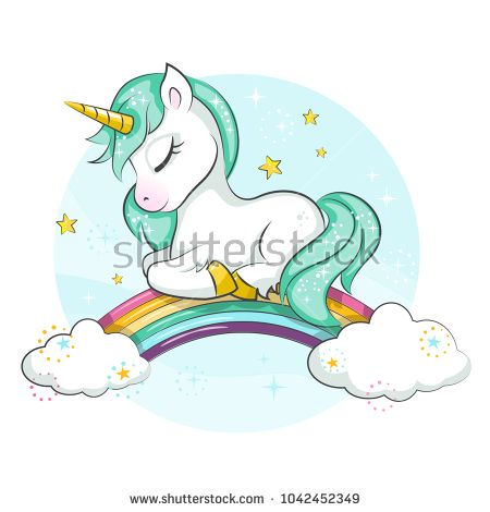 Cute magical unicorn and rainbow. Vector design isolated on white ...