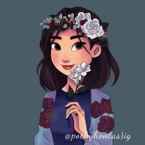 // POC Disney Princesses + the four seasons. I saw a post by 'queentianas' on Tumblr a few years ago and I was inspired to draw. Who's your favourite? I had the most fun drawing Mulan. ✨