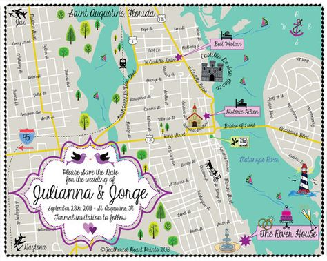 Map Of St Augustine Florida.Custom Wedding Map Any Location Available St Augustine Fl Map