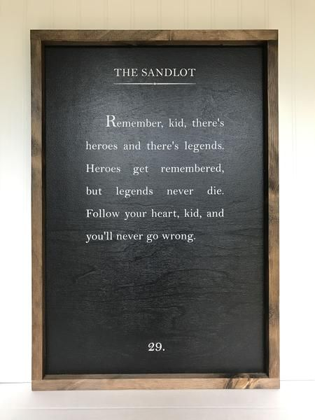 Wood Book Page Sign - the Sandlot Quote