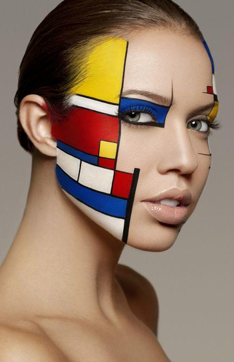 "Face Art, by Yoan Perez, ""Mondrian"" inspiration, Photo by Damien Mohn."