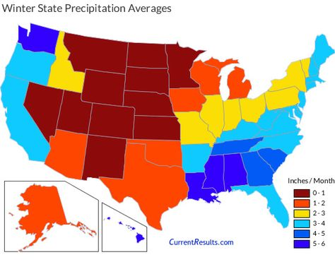 Map of USA state average precipitation in winter | Map, Snow ...