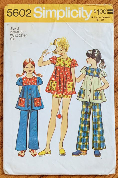 Simplicity 5602 Girls Smock Top and Pants Pattern Childs Vintage Sewing Pattern Size 12 Breast 30 - Pattern Gate Simplicity Sewing Patterns, Vintage Sewing Patterns, Pattern Sewing, My Childhood Memories, 1970s Childhood, Sweet Memories, Mode Vintage, Vintage Toys 1960s, Pattern Cutting