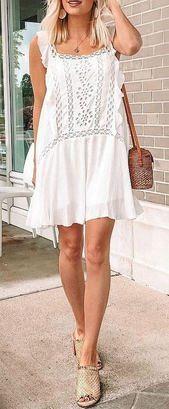 Priscilla White Crochet Mini Dress White Crochet Mini Dress Cute Simple Outfits Fashion