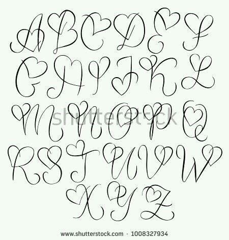 Herz Alphabet Handlettering Doodle Alphabet Doodle Handlettering Her Lettering Alphabet Fonts Lettering Alphabet Hand Lettering Alphabet