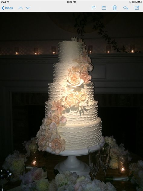 Meredith and Wills' Wedding Cake, by Jim Smeal, Charleston, SC.  An absolute work of art, and equally as delicious.