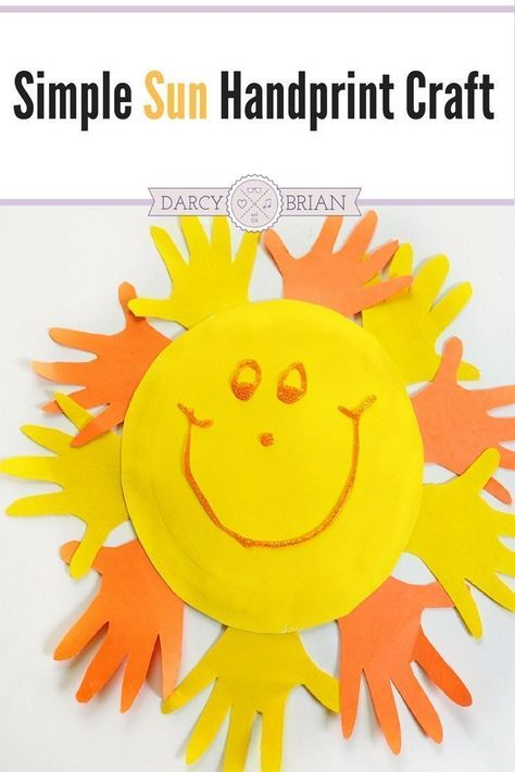 Looking for fun and easy preschool crafts to do at home? Make a handprint sun craft with your kids using minimal materials. Great for toddlers too! #artsandcraftsforkidstodoathome