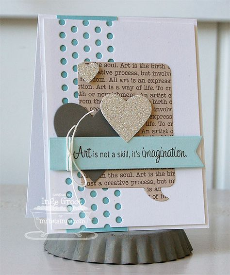 Art Expression Text; Clearly Sentimental about Art; Insert It - Speech Bubble Frame Die-namics; Hearts a Plenty Die-namics; Peek-a-Boo Dots Die-namics; Fishtail Flags STAX Die-namics - Inge Groot