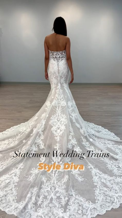 Looking for a gown that will make a statement? Take a look at these new Fall 2021 styles from our Opus collection. Designed for the bride that isn't afraid to flaunt what she's got, these gowns feature the most dramatic wedding trains that will have your guests starstruck. Head to the link to see more details! #weddingdress #weddingdresstrain #weddinggown #bridalgown #weddingdressdetails #straplessweddingdress #bridaldress