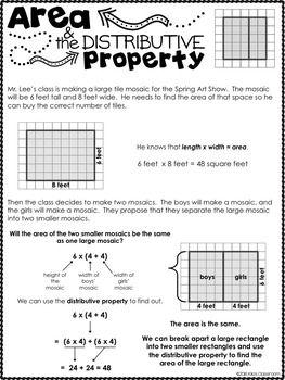 Area Distributive Property 3rd Grade Area Activities Area
