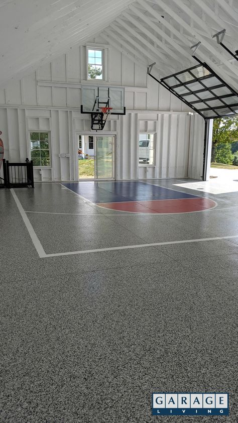 Custom project - indoor basketball court - Garage Wish list Pole Barn House Plans, Pole Barn Homes, Garage Plans, Pole Barn Garage, Barn Plans, Garage Doors, Garage Renovation, Garage Remodel, Metal Building Homes