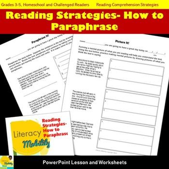 Reading Strategie How To Paraphrase Powerpoint And Worksheet Set Comprehension Skill Paraphrasing For Third Grade