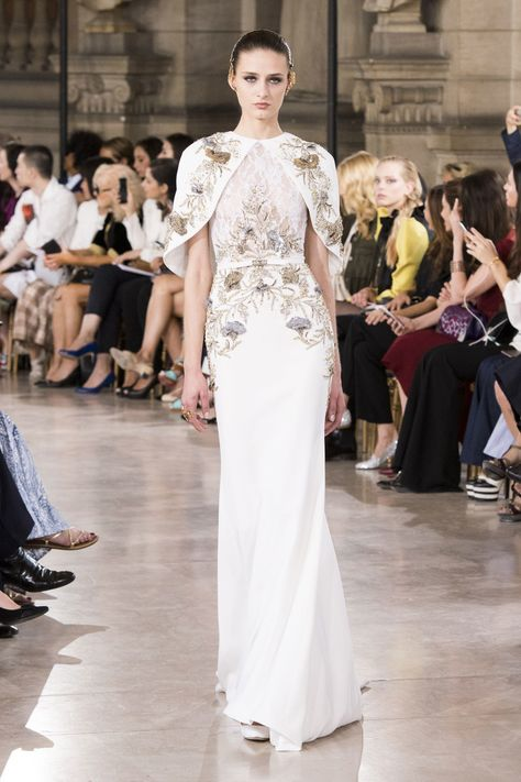 Georges Hobeika   Fall 2016 Couture   18 White embellished caped maxi dress