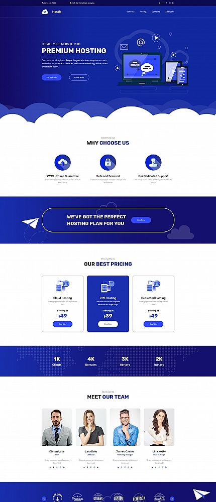 Blue White Web Hosting Motocms 3 Landing Page Template Desain