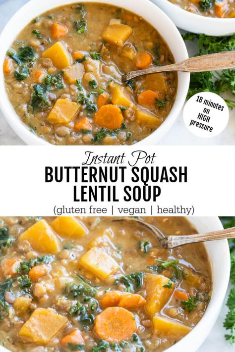Comforting, filling and cozy, this Instant Pot Butternut Squash Lentil Soup is everything I love about soup season.Hearty winter squash and savory lentils flavored with Herbes de Provence. Perfect for chilly evening meals. Slow Cooker Lentil Soup, Lentil Soup Recipes, Lentils Crockpot Recipes, Recipes For Lentils, Lentil Meals, Vegan Lentil Soup, Good Enough, Mochi, Paleo Butternut Squash Soup