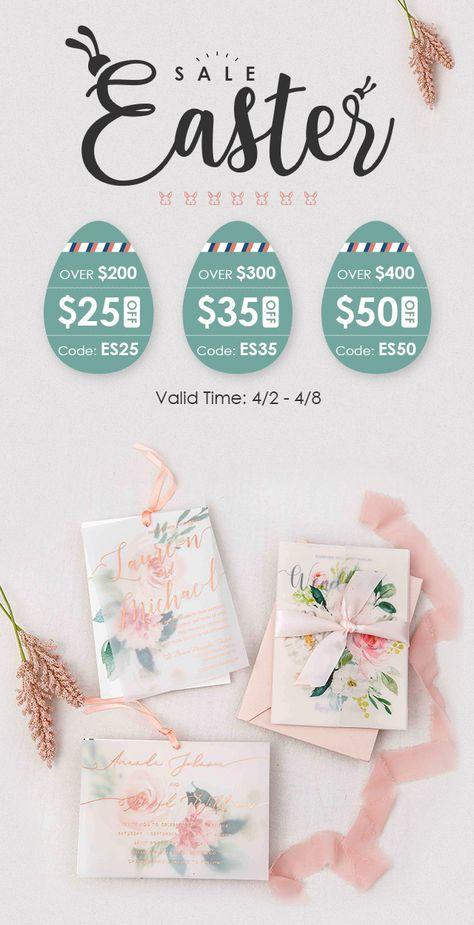 Time: 4/2-4/8 $25 off, $35 off and $50 off #wedding#weddinginvitations#stylishwedd#stylishweddinvitations#vellumweddinginvitations#weddingideas