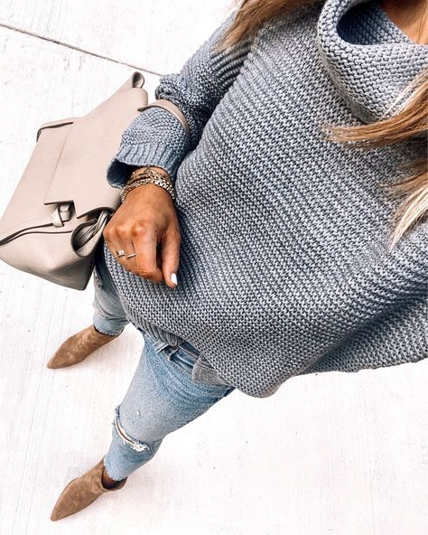 Grey Sweater Outfit, Winter Sweater Outfits, Mode Outfits, Casual Outfits, Fashion Outfits, Fashion Jackson, Weekly Outfits, Fall Outfits For Work, Celine Bag