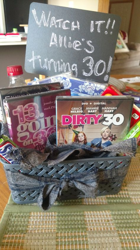 30 Year Old Birthday Gift Basket Idea All Movies That Have In The Name Some Movie Snacks And Popcorn Card To Hidden Inside Dirty30